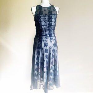 Sangria Black Lace Nude Lining Midi Dress 12
